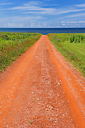 Red soil of gravel road
