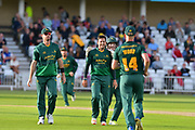 Steven Mullaney and Dan Christian celebrate the wicket of Brett D'Oliveria (not shown) during the Natwest T20 Blast North Group match between Nottinghamshire County Cricket Club and Worcestershire County Cricket Club at Trent Bridge, West Bridgford, United Kingdom on 26 July 2017. Photo by Simon Trafford.