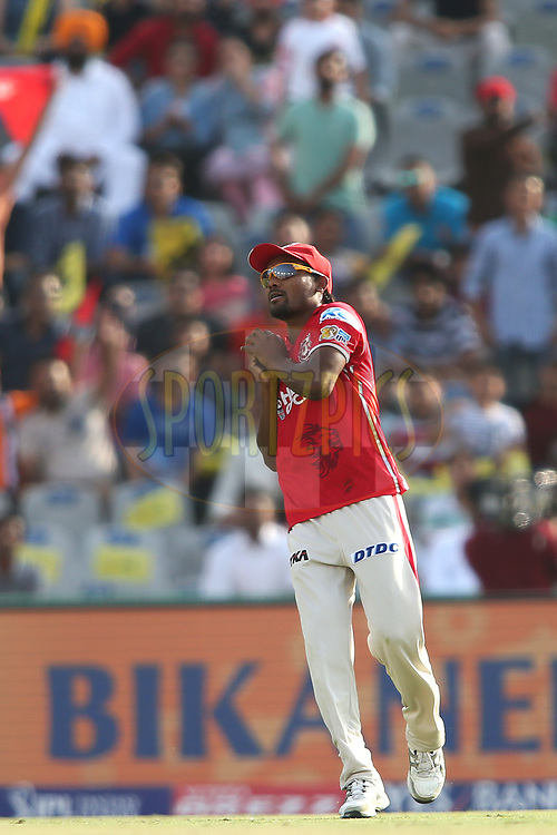 Sandeep Sharma of Kings XI Punjab takes the catch to get Mohammed Shami of the Delhi Daredevils wicket during match 36 of the Vivo 2017 Indian Premier League between the Kings XI Punjab and the Delhi Daredevils held at the Punjab Cricket Association IS Bindra Stadium in Mohali, India on the 30th April 2017<br /> <br /> Photo by Shaun Roy - Sportzpics - IPL