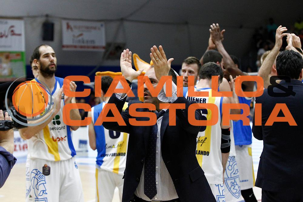 delusione Orlandina Coach Di Carlo<br />Betaland Capo D'Orlando Vs EA7 Emporio Armani Olimpia Milano<br />Playoff Gara 4<br />LegaBasket 2016/2017<br />Capo d&rsquo;Orlando 18/05/2017<br />Foto Ciamillo-Castoria