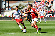 Joe Bryan (3) of Bristol City is closed down by Joao Carvalho (10) of Nottingham Forset during the EFL Sky Bet Championship match between Bristol City and Nottingham Forest at Ashton Gate, Bristol, England on 4 August 2018. Picture by Graham Hunt.