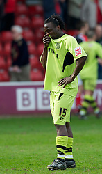 WALSALL, ENGLAND - Saturday, April 10, 2010: Tranmere Rovers' Kithson Bain looks dejected as his side lose 2-1 to Walsall during the Football League One match at the Bescot Stadium. (Photo by David Rawcliffe/Propaganda)