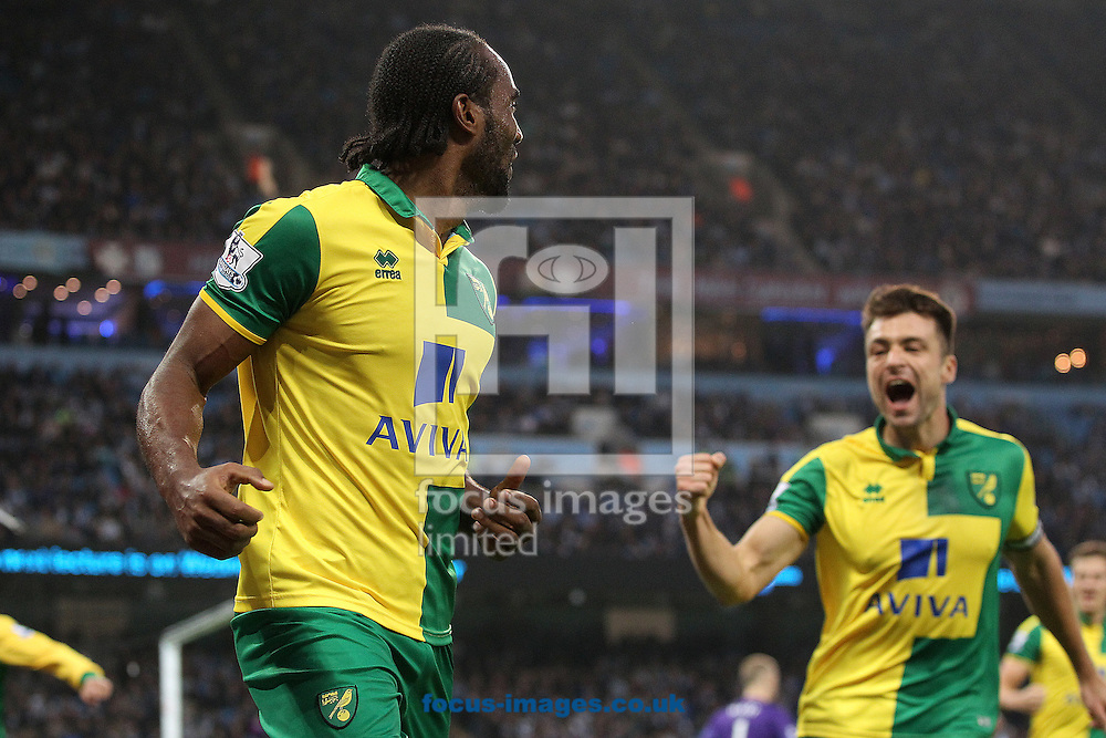 Cameron Jerome of Norwich celebrates scoring his sides equalising goal during the Barclays Premier League match at the Etihad Stadium, Manchester<br /> Picture by Paul Chesterton/Focus Images Ltd +44 7904 640267<br /> 31/10/2015