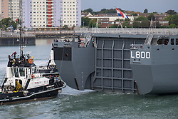 © Licensed to London News Pictures. 22/09/2016. Portsmouth, UK.  The stern door of the Dutch Warship, HNLMS Rotterdam, which is visiting Portsmouth Harbour today, 22nd September 2016. The Rotterdam is a Landing Platform Dock amphibious warfare ship of the Royal Netherlands Navy. The vessel is visiting for the day, and will depart this evening at approximately 1700 hours. Photo credit: Rob Arnold/LNP