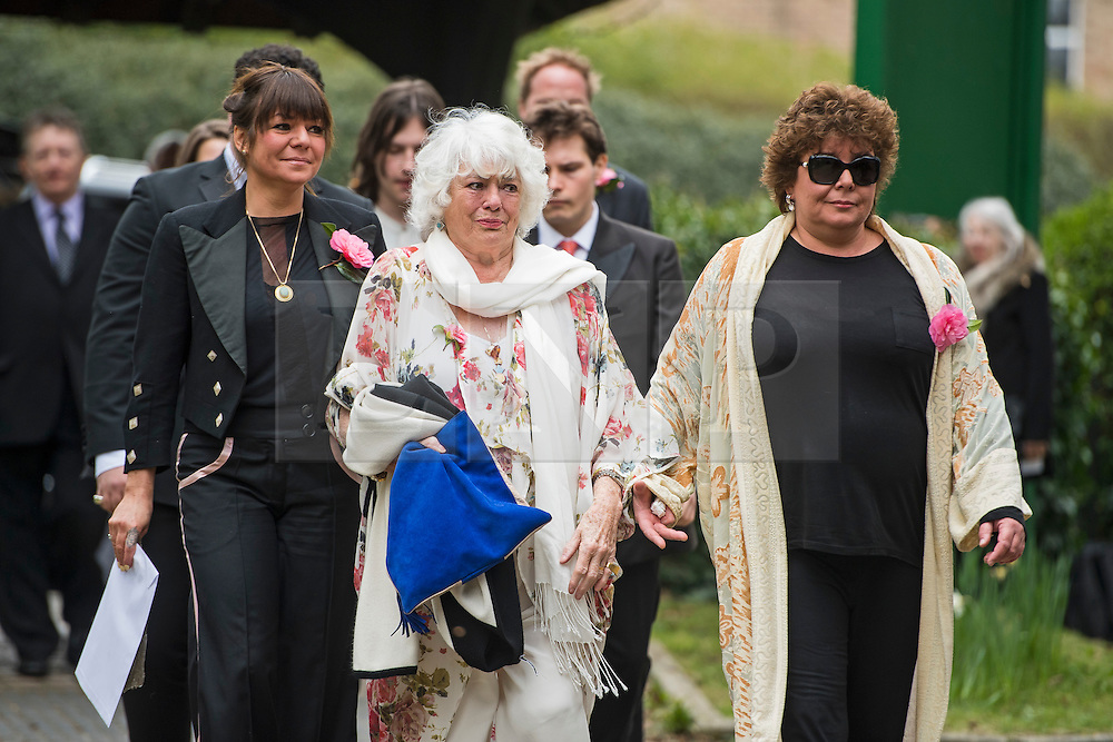 © Licensed to London News Pictures. 18/04/2016. Shirley, UK.  Wife Anne (centre) and daughters Sophie (left) and Emma (right) arrive at The funeral of comedian, actor, writer Ronnie Corbett, held at St John the Evangelist Church in Shirley near Croydon. Corbett, who was most famous for his comedy sketch show  The Two Ronnies, performed with the late Ronnie Barker, died at the age of 85. Photo credit: Ben Cawthra/LNP