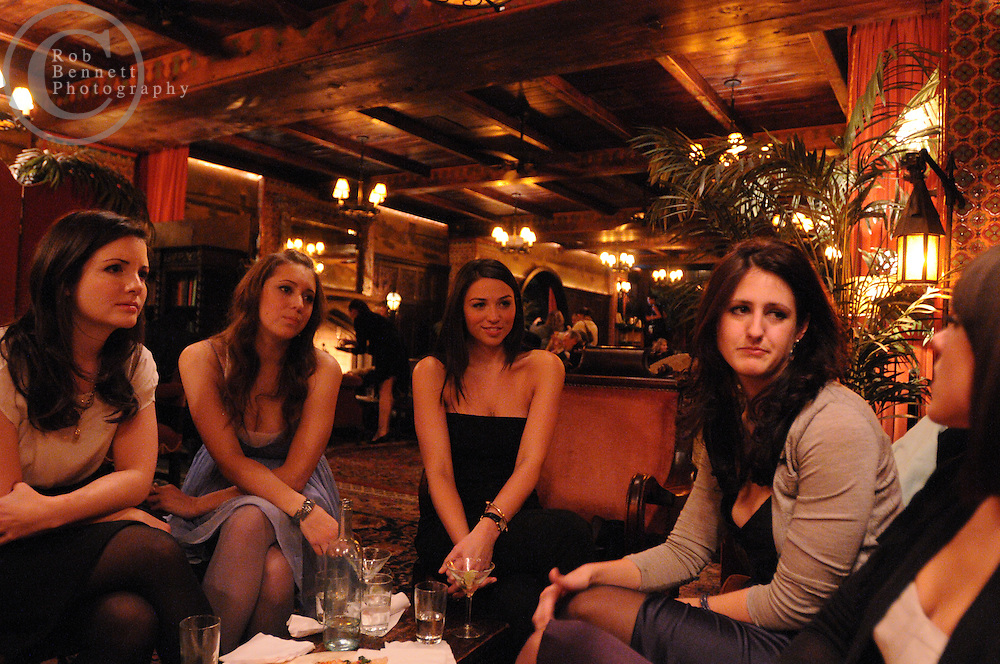 New York, NY: Mon, Jan. 12, 2009: .Lobby lounge, the Bowery Hotel, New York, NY:.Support group for banking wives and girlfriends.---.(L to R).- Dawn Spinner Davis, age declined, beauty writer, Miami Beach, Florida.- Christine Cameron, age declined, works in publishing and writes a style blog.- Laney Crowell, 27, works and blogs for a fashion website.- Alexandra Pennington, 26, pharmaceutical sales.- Megan Petrus, 27, lawyer, Soho.---.ROB BENNETT