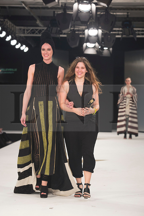 © Licensed to London News Pictures. 02/06/2015. London, UK. Melissa Villevieille from Edinburgh School of Art, winner of the Womenswear Award and the Catwalk Textiles Award. Graduate Fashion Week 2015 concludes with the Gala Awards Show at the Old Truman Brewery, London. Photo credit : Bettina Strenske/LNP