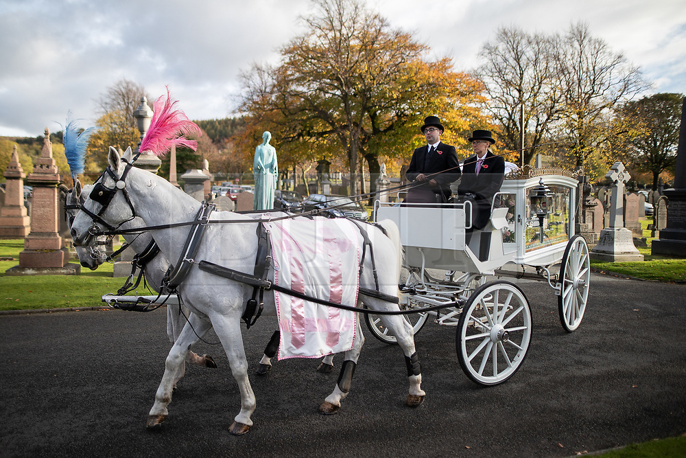 © Licensed to London News Pictures . 30/10/2018. Accrington , UK . Gemma's coffin arrives at the church in a horse drawn carriage . The funeral of Gemma Nuttall at Accrington Crematorium . Gemma died of cancer despite initially seeing off the disease after radical immunotherapy treatment in Germany , paid for with the fundraising support of actress Kate Winslet , who read of Gemma's plight on a crowdfunding website shortly after she lost her own mother to cancer . Permission to photograph given by Gemma's mother , Helen Sproates . Photo credit : Joel Goodman/LNP