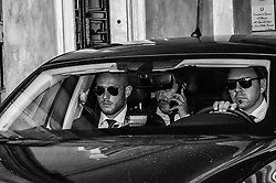October 8, 2018 - Rome, Italy, Italy - (Editors note: this image has been converted to black and white). Interior Minister Matteo Salvini and the President of Rassemblement National Marine le Pen, leave the union Ugl after the meeting with the press, on the sidelines of the debate 'Economic growth and social prospects in a Europe of Nations'. on October 8, 2018 in Rome, Italy  (Credit Image: © Andrea Ronchini/NurPhoto/ZUMA Press)