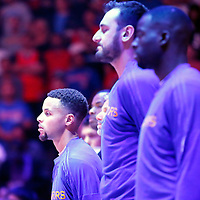 19 November 2015: Golden State Warriors guard Stephen Curry (30) is seen during the national anthem prior to the Golden State Warriors 124-117 victory over the Los Angeles Clippers, at the Staples Center, Los Angeles, California, USA.