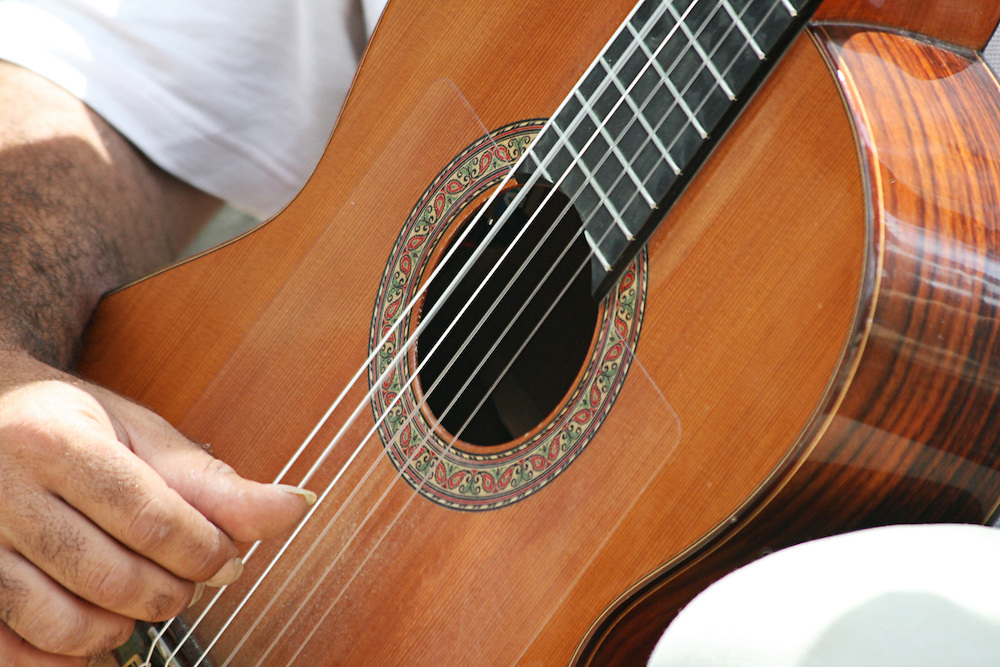 A spanish guitar being played