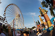 The Prater, Vienna's famous luna park. Flower wheel and Calafati (r.)