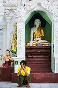 15 JUNE 2013 - YANGON, MYANMAR: A man prays at Shwedagon Pagoda. The Shwedagon Pagoda is officially known as Shwedagon Zedi Daw and is also called the Great Dagon Pagoda or the Golden Pagoda. It is a 99 metres (325 ft) tall pagoda and stupa located in Yangon, Burma. The pagoda lies to the west of on Singuttara Hill, and dominates the skyline of the city. It is the most sacred Buddhist pagoda in Myanmar and contains relics of the past four Buddhas enshrined: the staff of Kakusandha, the water filter of Koṇāgamana, a piece of the robe of Kassapa and eight strands of hair fromGautama, the historical Buddha. The pagoda was built between the 6th and 10th centuries by the Mon people, who used to dominate the area around what is now Yangon (Rangoon). The pagoda has been renovated numerous times through the centuries. Millions of Burmese and tens of thousands of tourists visit the pagoda every year, which is the most visited site in Yangon.  PHOTO BY JACK KURTZ