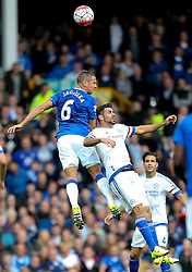 Everton's Phil Jagielka wins a header against Diego Costa of Chelsea - Mandatory byline: Matt McNulty/JMP - 07966386802 - 12/09/2015 - FOOTBALL - Goodison Park -Everton,England - Everton v Chelsea - Barclays Premier League