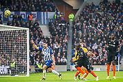 Neal Maupay (Brighton) & Kepa Arrizabalaga (Chelsea) in action during the Premier League match between Brighton and Hove Albion and Chelsea at the American Express Community Stadium, Brighton and Hove, England on 1 January 2020.