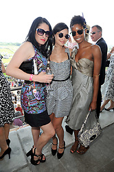 Left to right, AMY MOLYNEAUX, LEAH WELLER and TOLULA ADEYEMI at the Investec Ladies Day at Epsom Racecourse, Surrey on 4th June 2010.