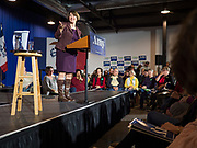 27 DECEMBER 2019 - DES MOINES, IOWA: US Senator AMY KLOBUCHAR (D-MN) speaks to a crowd of about 350 people at a campaign rally in Des Moines Friday evening. Sen. Klobuchar is campaigning to be the Democratic nominee for the US Presidency. Friday night she announced that had she kept a campaign promise to visit every one of Iowa's 99 counties. Iowa holds the first selection event of the Presidential election cycle. The Iowa caucuses are Feb. 3, 2020.       PHOTO BY JACK KURTZ