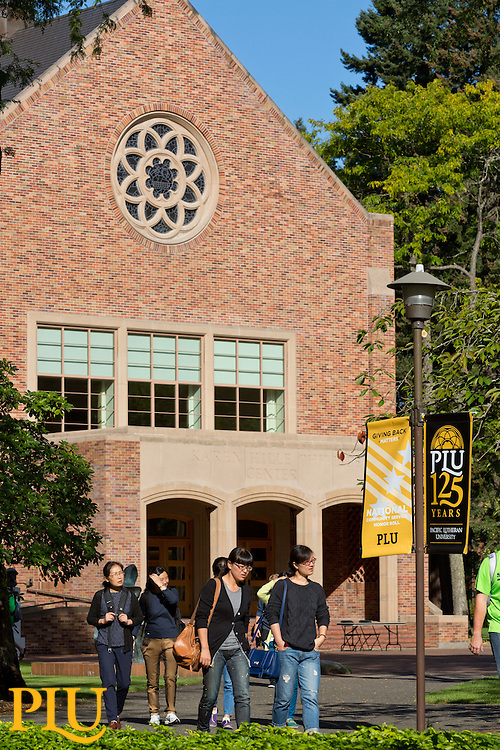 Students making their way across Red Square at PLU on Thursday, Sept. 11, 2014. (Photo/John Froschauer