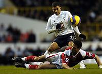 Photo: Olly Greenwood.<br />Tottenham Hotspur v Charlton Athletic. The Barclays Premiership. 09/12/2006. Charlton 's Talal El Karkouri slides in on Spurs Aaron Lennnon