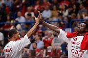 Jerrells Curtis ,Abass Awudu<br /> EA7 Olimpia Milano - The Flexx Pistoia<br /> Legabasket Serie A 2017/18<br /> Milano, 06/05/2018<br /> Foto MarcoBrondi / Ciamillo-Castoria