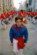 Gubbio 15 MAY 2004..Festival of the Ceri..The parade the ceraioli  with the drummers....http://www.ceri.it/ceri_eng/index.htm..