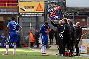Gillingham make a first half substitution during the EFL Sky Bet League 1 match between Bradford City and Gillingham at the Northern Commercials Stadium, Bradford, England on 24 March 2018. Picture by Mick Atkins.