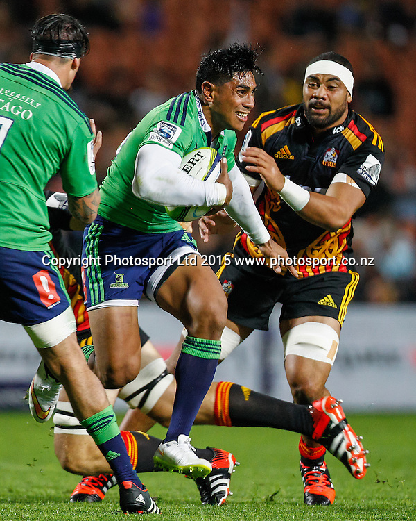 Highlander's Malakai Fekitoa in action during the Super 15 Rugby Match - Chiefs v Highlanders, 6 March 2015 at Waikato Stadium, Hamilton, New Zealand on Friday 6 March 2015.  Photo:  Bruce Lim / www.photosport.co.nz