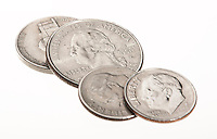 loose american coins on white