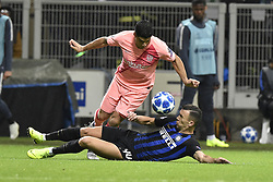 November 6, 2018 - Milan, Milan, Italy - Luis Suárez of Barcelona  is challenged by Ivan Perisic of Inter Milan during the UEFA Champions League Group Stage match between Inter Milan and Barcelona at Stadio San Siro, Milan, Italy on 6 November 2018. Photo by Giuseppe Maffia. (Credit Image: © AFP7 via ZUMA Wire)