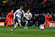 Goal scored by Paul Gallagher of Preston North End from the penalty spot during the EFL Sky Bet Championship match between Preston North End and Huddersfield Town at Deepdale, Preston, England on 9 November 2019.