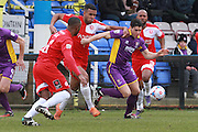 Kevin Lokko and Dan Holman during the Vanarama National League match between Welling United and Cheltenham Town at Park View Road, Welling, United Kingdom on 5 March 2016. Photo by Antony Thompson.