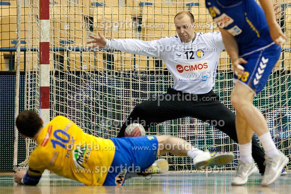 Gorazd Skof of Cimos during handball match between RK Celje Pivovarna Lasko vs RK Cimos Koper in 9th Round of 1st NLB Leasing Champions league 2011/12, on May 19, 2012 in Arena Zlatorog, Celje, Slovenia. (Photo by Urban Urbanc / Sportida.com)