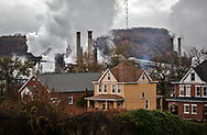 Emissions rising from U.S. Steel's Clairton Plant, in Clairton, Pennsylvania.