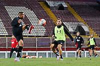 BOEKAREST - 19-08-15, Europa League, Astra GiurGiu - AZ, training, Stadionul Giulesti, AZ speler Dabney dos Santos Souza (l), AZ speler Muamer Tankovic (m).