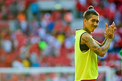 LONDON, ENGLAND - Saturday, August 6, 2016: Liverpool's Roberto Firmino after the 4-0 victory over Barcelona during the International Champions Cup match at Wembley Stadium. (Pic by Xiaoxuan Lin/Propaganda)