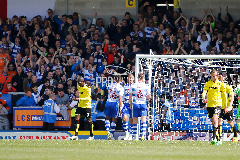 Reading striker Lewis Grabban (50) scores a goal 4-2 and celebrates during the EFL Sky Bet Championship match between Burton Albion and Reading at the Pirelli Stadium, Burton upon Trent, England on 7 May 2017. Photo by Richard Holmes.
