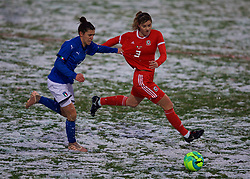 CESENA, ITALY - Tuesday, January 22, 2019: Italy's Valentina Bergamaschi (L) and Wales' Gemma Evans during the International Friendly between Italy and Wales at the Stadio Dino Manuzzi. (Pic by David Rawcliffe/Propaganda)