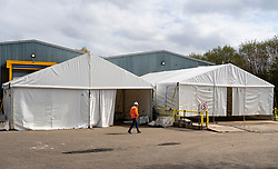 Temporary mortuary for Coronavirus pandemic under construction in Hillington Business park in Glasgow, Scotland, UK