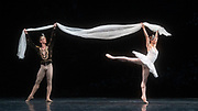 La Bayadere <br /> A ballet in three acts <br /> Choreography by Natalia Makarova <br /> After Marius Petipa <br /> The Royal Ballet <br /> At The Royal Opera House, Covent Garden, London, Great Britain <br /> General Rehearsal <br /> 30th October 2018 <br /> <br /> STRICT EMBARGO ON PICTURES UNTIL 2230HRS ON THURSDAY 1ST NOVEMBER 2018 <br /> <br /> Marianela Nunez as Nikiya <br /> A Bayadere and a temple dancer <br /> <br /> Vadim Muntagirov as Solor <br /> A warrior <br /> <br /> <br /> <br /> Photograph by Elliott Franks Royal Ballet's Live Cinema Season - La Bayadere is being screened in cinemas around the world on Tuesday 13th November 2018 <br />