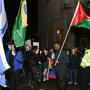 BDS Movement with solidarity Palestine to say NO to culture-washing, NO to pink-washing, NO to Eurovision being hosted in Apartheid Israel! counted Pro-Israel outside BBC Broadcasting House, London, UK. 8 Feb 2019.