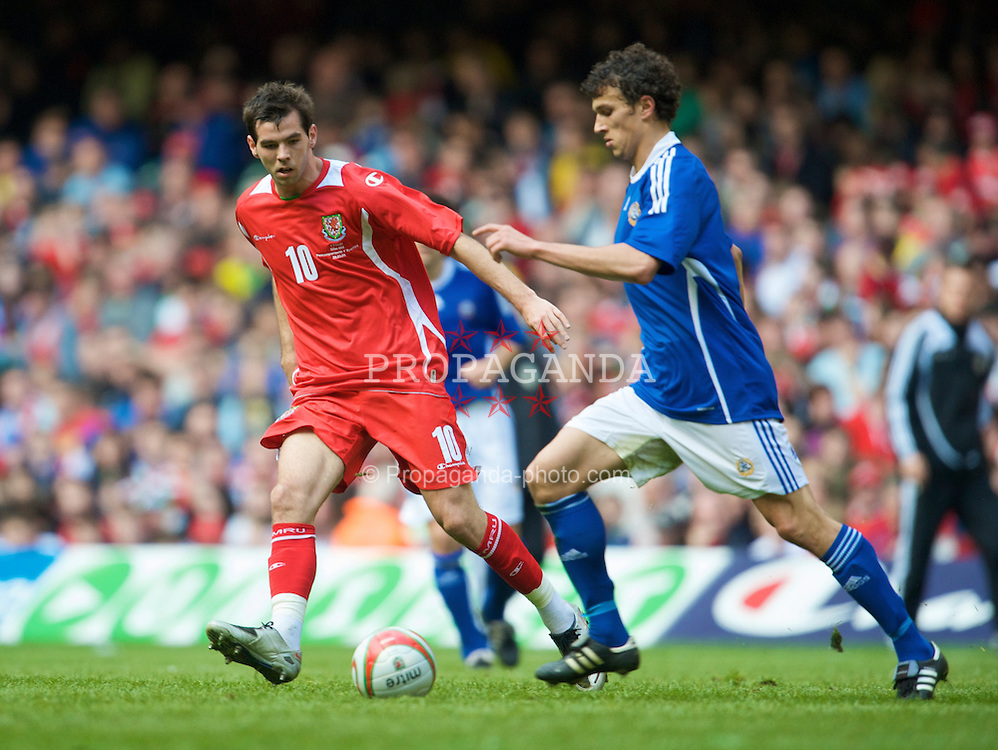CARDIFF, WALES - Saturday, March 28, 2009: Wales' Joe Ledley in action against Finlandduring the 2010 FIFA World Cup Qualifying Group 4 match at the Millennium Stadium. (Pic by David Rawcliffe/Propaganda)