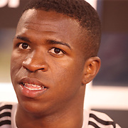 MEADOWLANDS, NEW JERSEY- August 7:  Vinicius Junior #28 of Real Madrid on the bench before the start of  the Real Madrid vs AS Roma International Champions Cup match at MetLife Stadium on August 7, 2018 in Meadowlands, New Jersey. (Photo by Tim Clayton/Corbis via Getty Images)