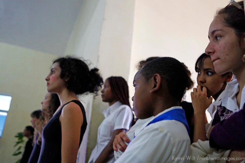 Central America, Cuba, Santa Clara. Arts students at Santa Clara Musical School of Art.