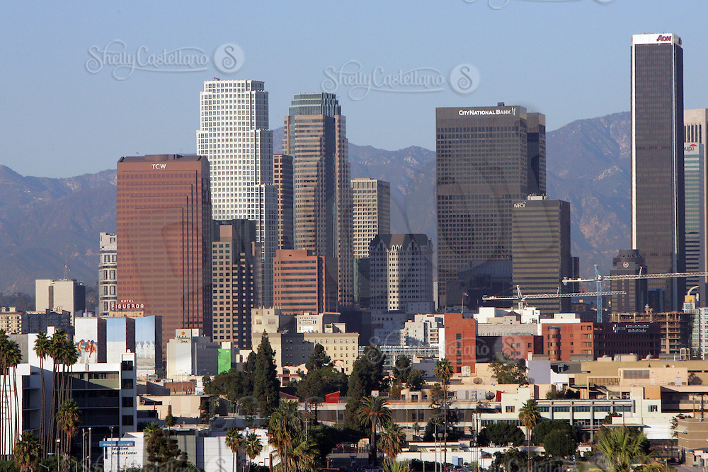 13 October 2005: View of the downtown Los Angeles Skyline during a sunny afternoon on a day of santa ana winds that cleared the skies to see the hills behind the city and tall buildings in the downtown area. Landmark Hotel Figueroa, City National Bank, MCI building, TCW, apartments and more.