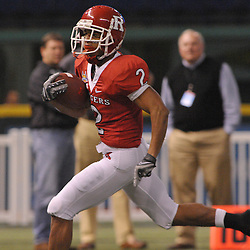 Dec 19, 2009; St. Petersburg, Fla., USA; Rutgers wide receiver Tim Brown (2) runs for a touchdown during NCAA Football action in Rutgers' 45-24 victory over Central Florida in the St. Petersburg Bowl at Tropicana Field.