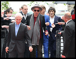 The Rolling Stones arriving for  the opening of an exhibition at Somerset House in London, celebrating 50 years since they performed their first gig at the Marquee Club, Thursday, 12th July 2012  Photo by: Stephen Lock / i-Images