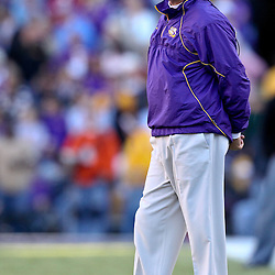 November 6, 2010; Baton Rouge, LA, USA;  LSU Tigers head coach Les Miles watches from the sideline during the second half against the Alabama Crimson Tide at Tiger Stadium. LSU defeated Alabama 24-21.  Mandatory Credit: Derick E. Hingle