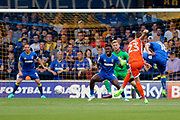 Shrewsbury Town midfielder Alex Rodman (23) shoots at goal during the EFL Sky Bet League 1 match between AFC Wimbledon and Shrewsbury Town at the Cherry Red Records Stadium, Kingston, England on 12 August 2017. Photo by Matthew Redman.