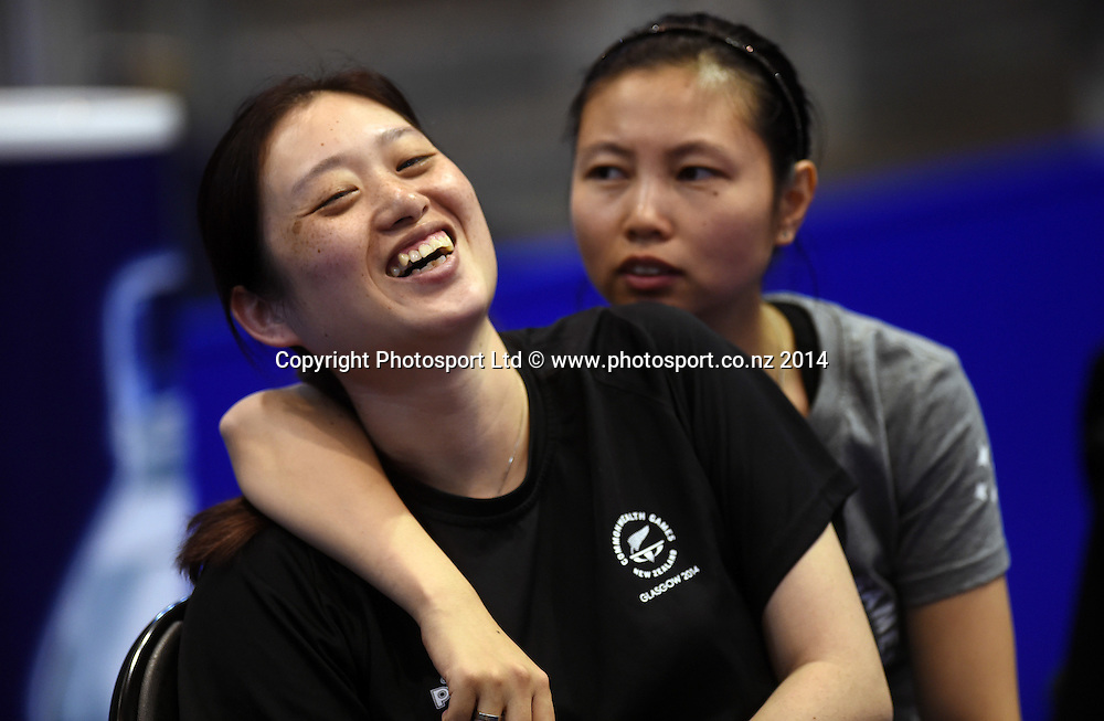 Sun Yang and Annie Yang (R) at training before the start of the Table Tennis competition at the Glasgow Commonwealth Games 2014. Scotland. Wednesday 23 July 2014.Photo:Andrew Cornaga/www.photosport.co.nz
