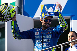 October 28, 2018 - Phillip Island, VIC, U.S. - PHILLIP ISLAND, VIC - OCTOBER 28: Team Suzuki Ecstar rider Andrea Iannone (29) on the podium in second place at The 2018 Australian MotoGP on October 28, 2018, at The Phillip Island Circuit in Victoria, Australia. (Photo by Speed Media/Icon Sportswire) (Credit Image: © Steven Markham/Icon SMI via ZUMA Press)